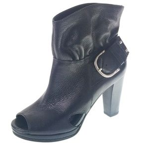 Gianni Bini Peep Toe Black Leather Boot